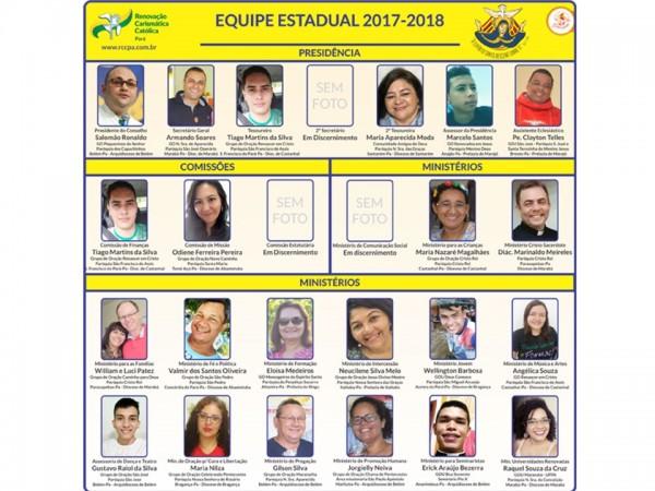 RCCPARÁ ANUNCIA EQUIPE ESTADUAL, COMISSÕES E MINISTÉRIOS PARA O BIÊNIO 2017-2018